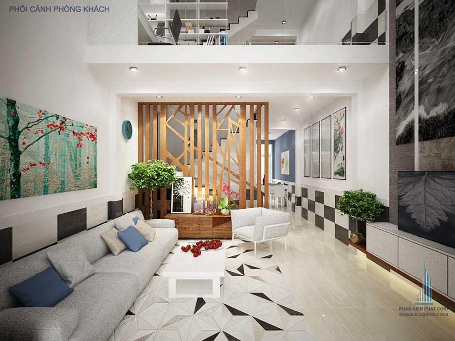 Phòng khách - nhà phố 5x15m 5 tầng