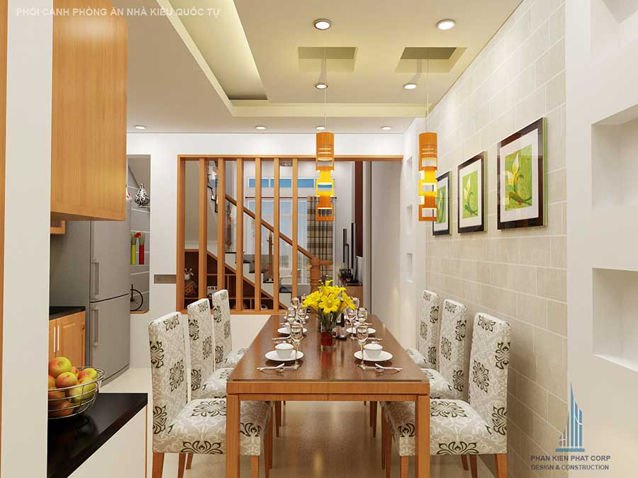 Phòng bếp - mẫu nhà 2 tầng 4x15m