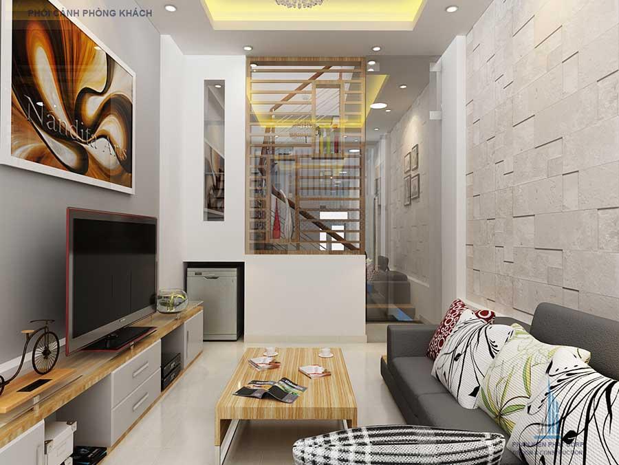 Phòng khách góc 2 của nhà phố 4 tầng