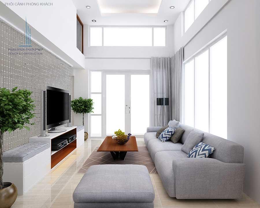 Phòng khách - nhà 4 tầng 8x15m mặt phố