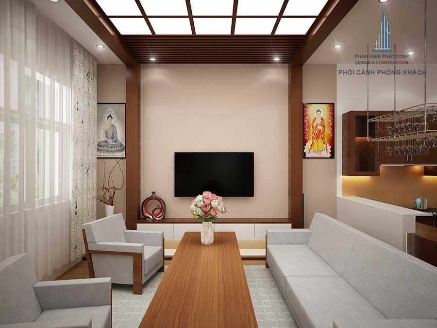 Phòng khách biệt thự 2 tầng mái nghiêng