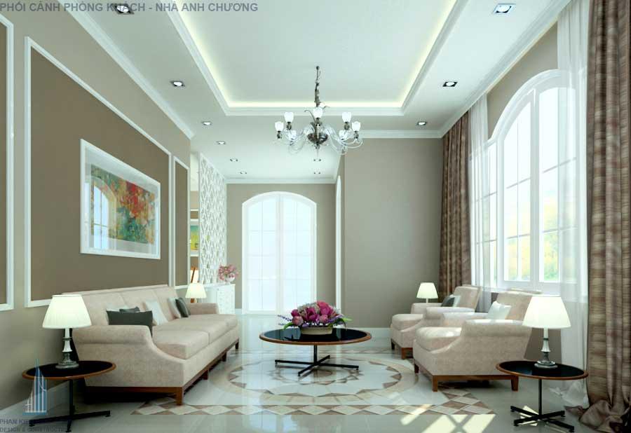 Phòng khách - nhà cấp 4 cổ điển