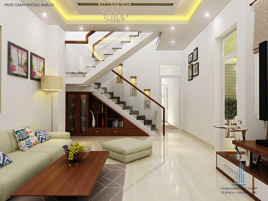 Góc cầu thang - thiết kế nhà phố 2 tầng