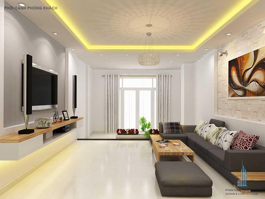 Thiết kế nhà 3 tầng - Phòng khách góc 2
