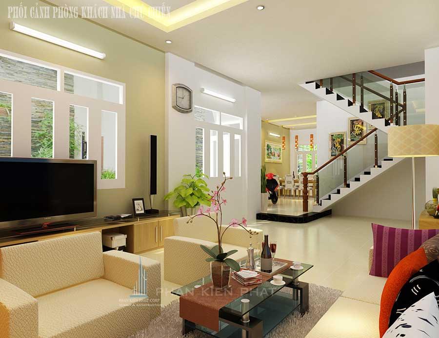 Nhà 3 tầng mái Thái - Phòng khách góc 2