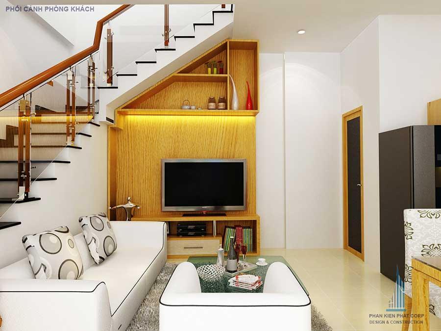 Thiết kế nhà 5x15m - Phòng khách góc 2