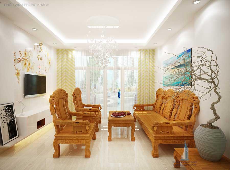 Phòng khách góc 1 của thiết kế xây dựng nhà 4 tầng
