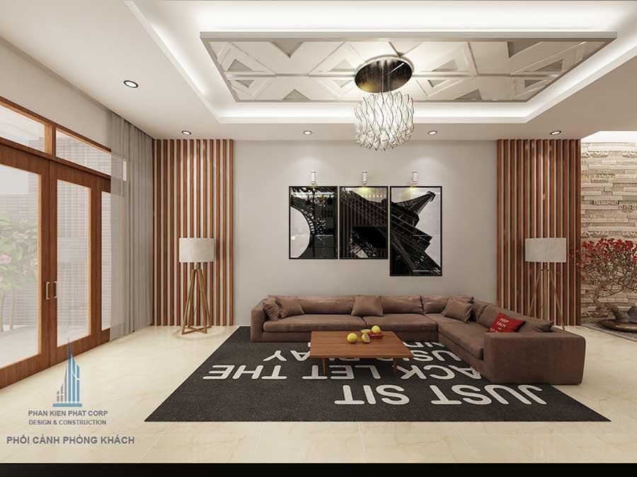 Phòng khách góc 2 của thiết kế nhà 4 tầng hiện đại