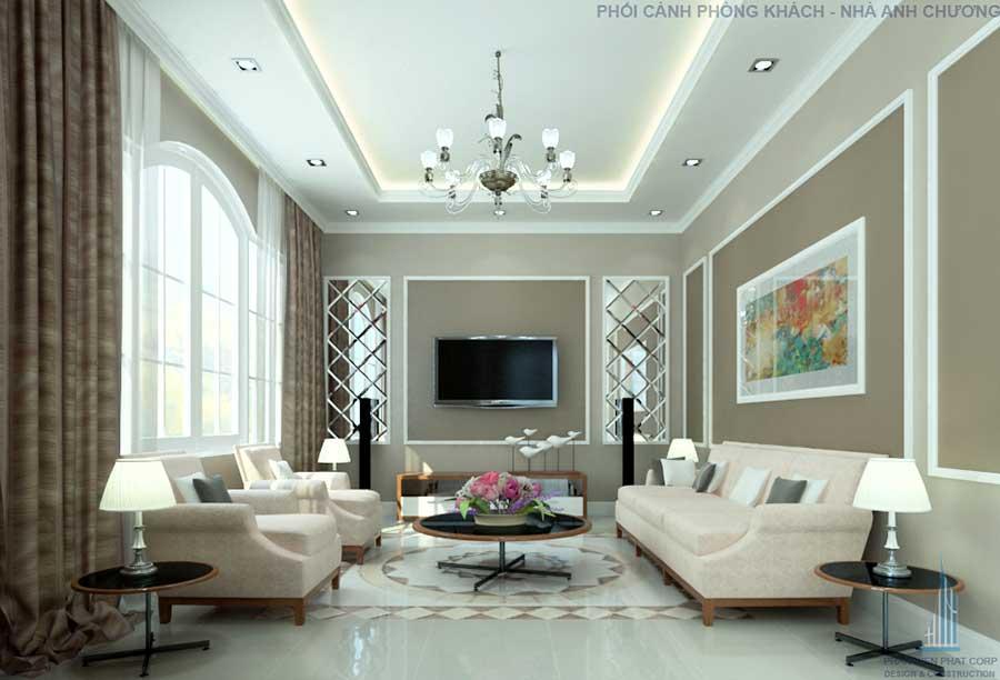 Phòng khách - nhà 1 tầng 5x15m