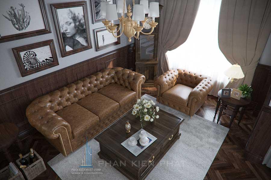 Thiết kế biệt thự 5x20m - Phòng khách góc 3