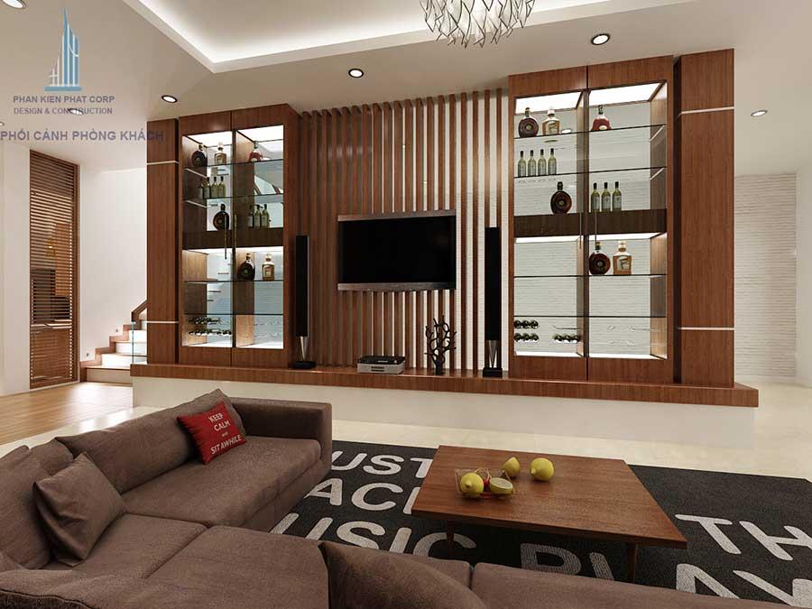 Phòng khách góc 3 của nhà 4 tầng sang trọng
