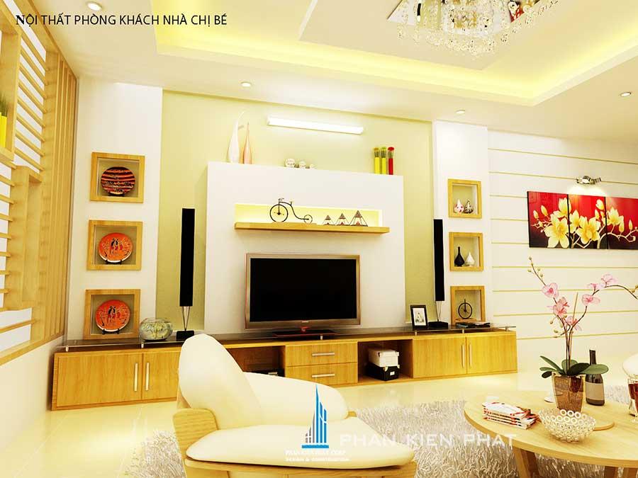 Phòng khách góc 2- nhà 5x20m 3 tầng