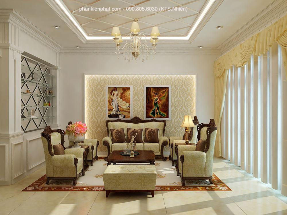 Phòng khách của nhà bán cổ điển 1 trệt 2 tầng 8x12m