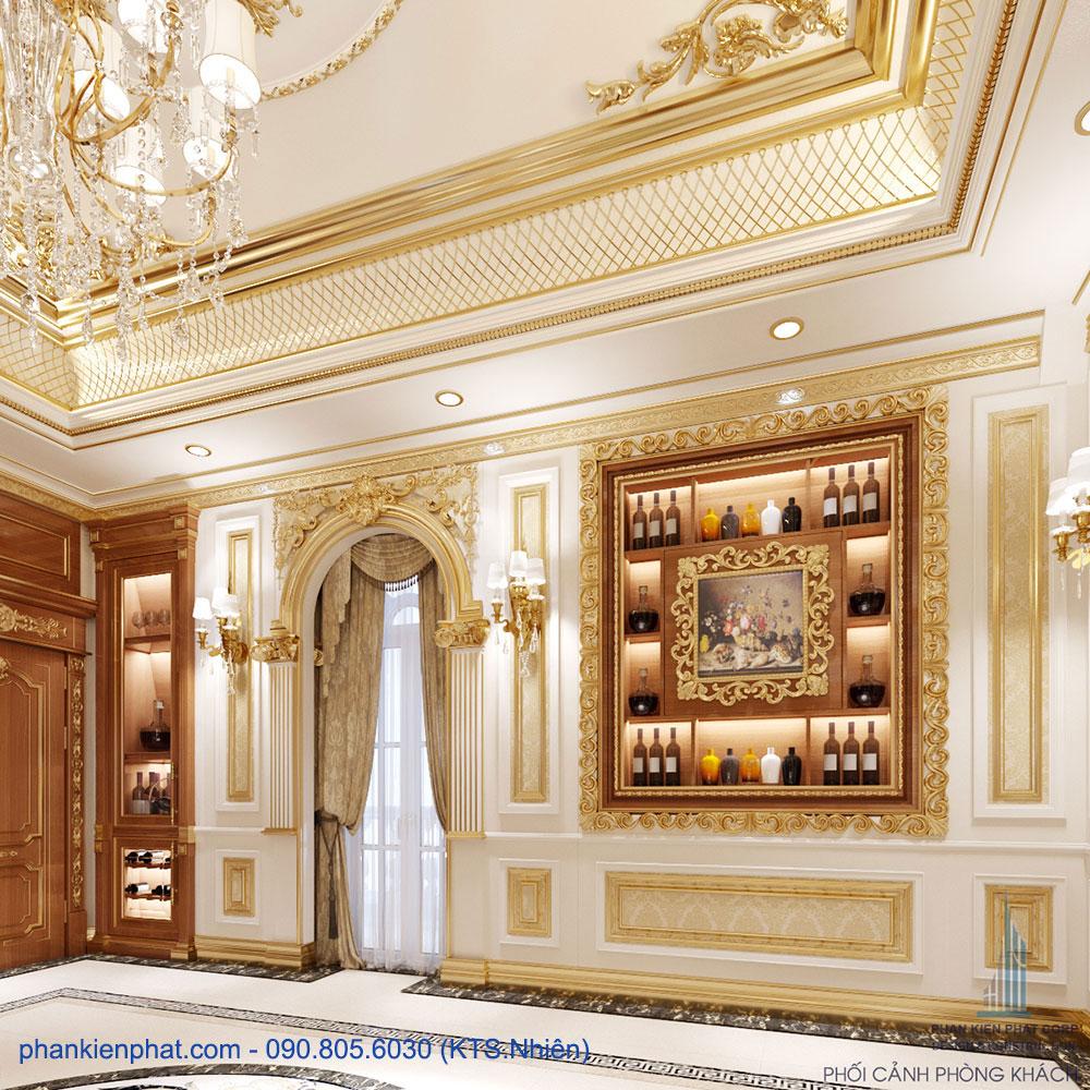 Phối cảnh phòng khách view 1 biệt thự kinh doanh cổ điển