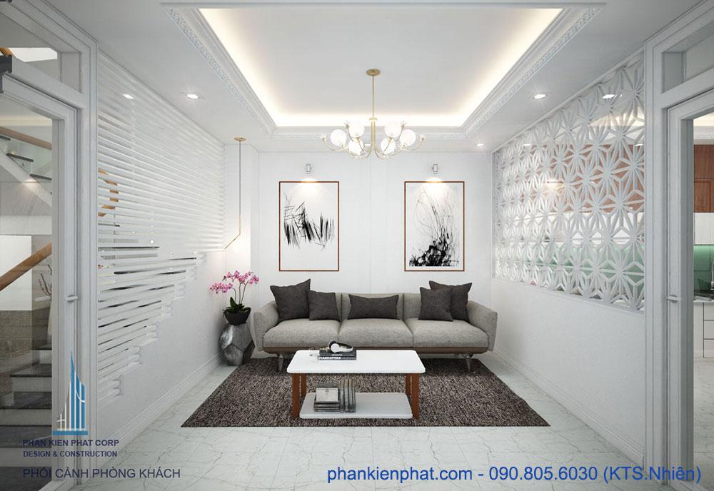 Phòng khách view 2 của nhà 4 tầng 4x15m hiện đại