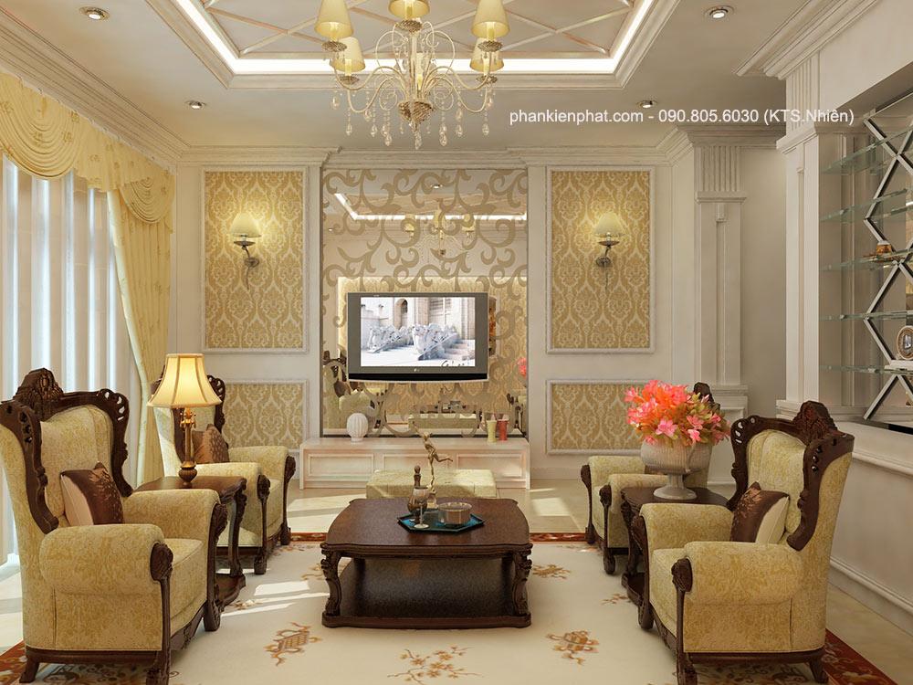 Phòng khách view 2 nhà 8x12m 3 tầng