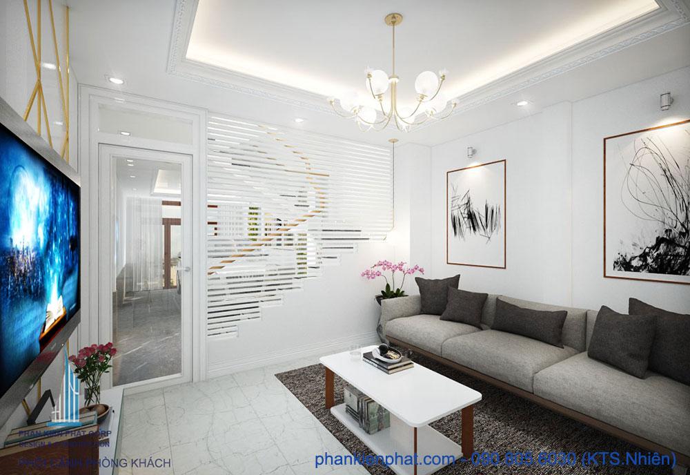 Phòng khách view 1 của nhà hiện đại 4x15m 4 tầng