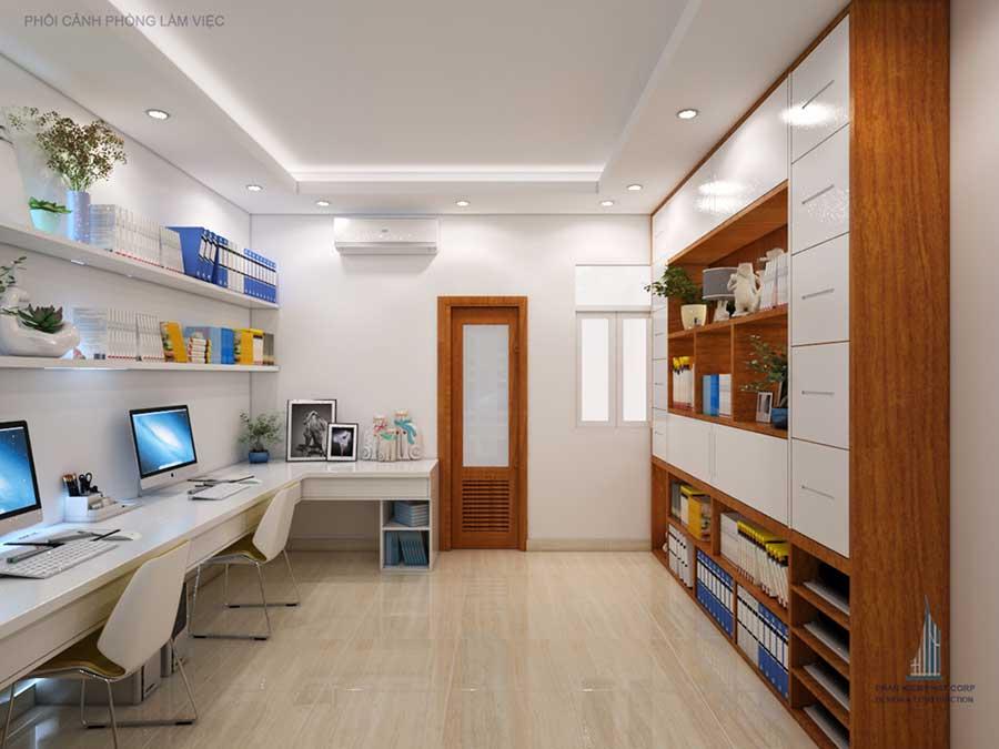 phòng làm việc góc 2 của nhà đẹp 4 tầng
