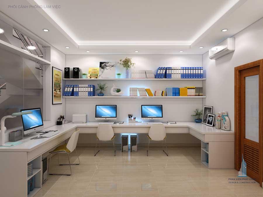 Phòng làm việc góc 2 - nhà phố 4 tầng
