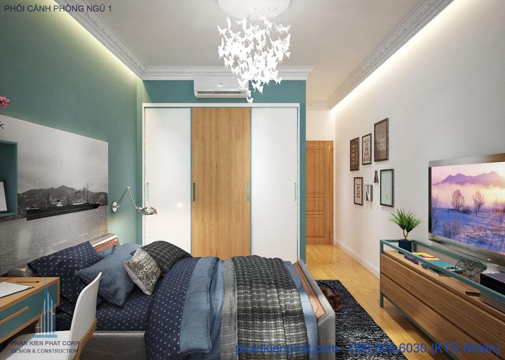 Phòng ngủ 1 view 1 nhà đẹp 1 trệt 3 tầng 4x15m