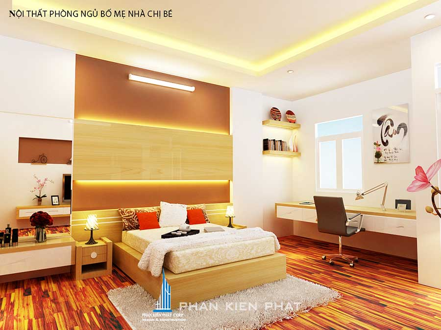 Phòng ngủ master - nhà phố 3 tầng sang trọng