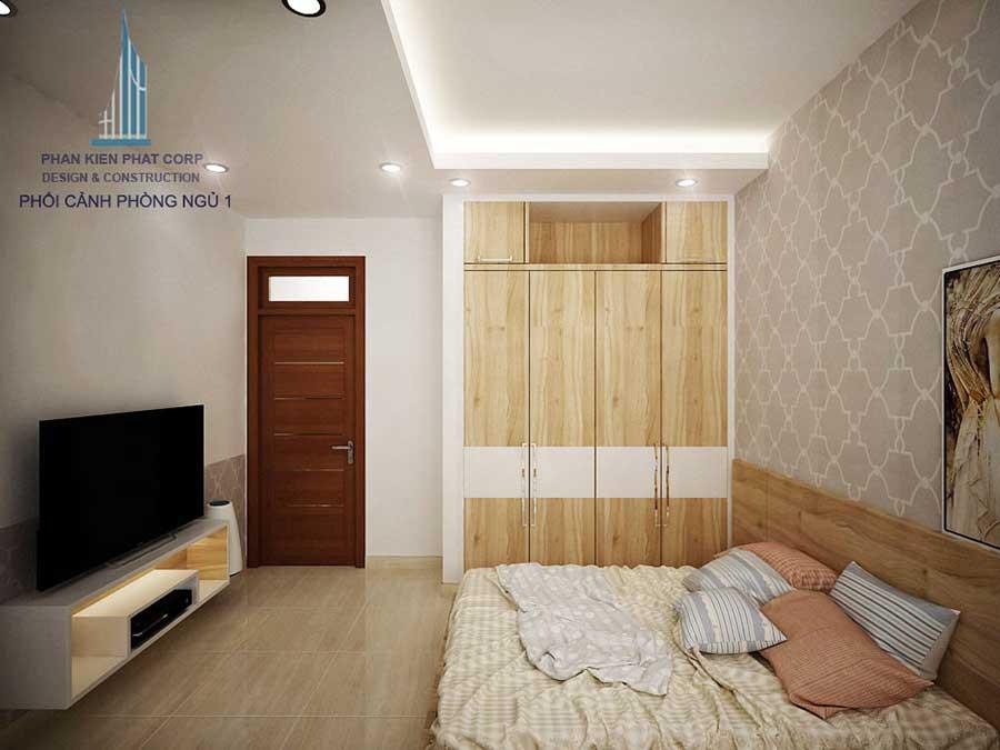 Phòng ngủ 1 góc 1 - nhà 3 tầng hiện đại