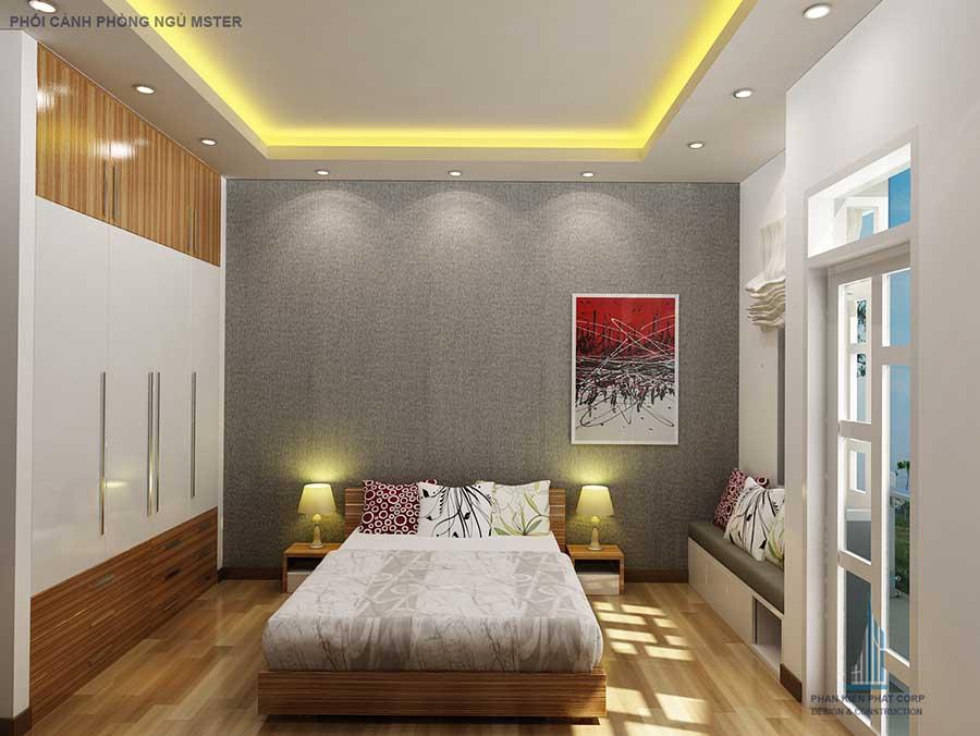 Phối cảnh phòng ngủ 1 góc 1 của nhà phố hiện đại 4 tầng