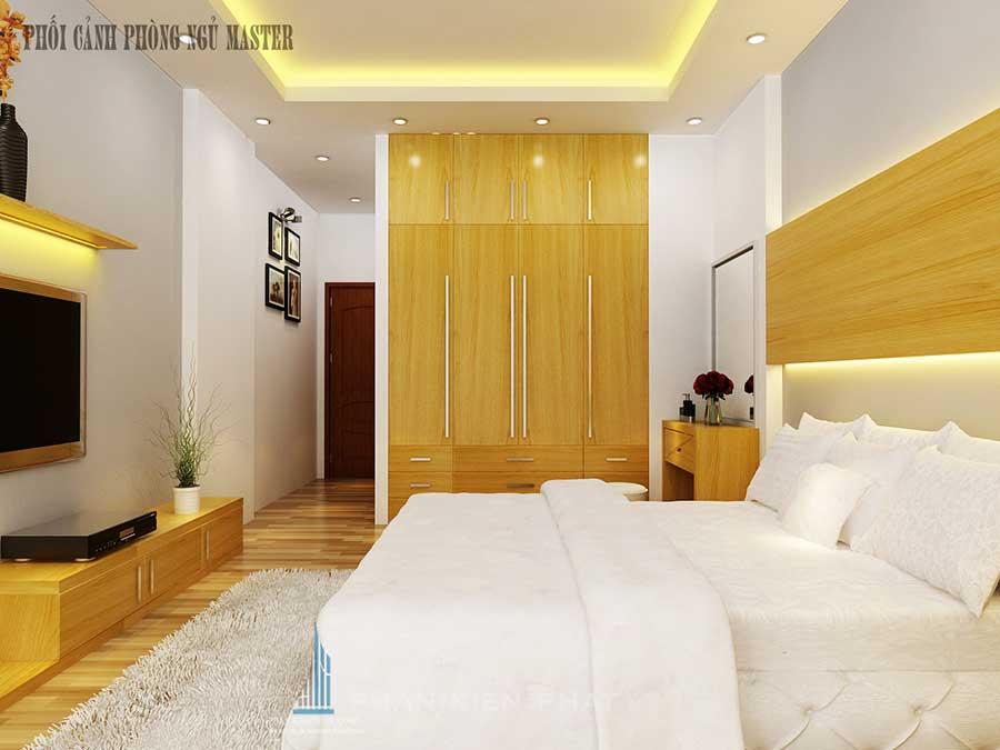 Phối cảnh phòng ngủ 1 góc 1 cho nhà phố 5 tầng