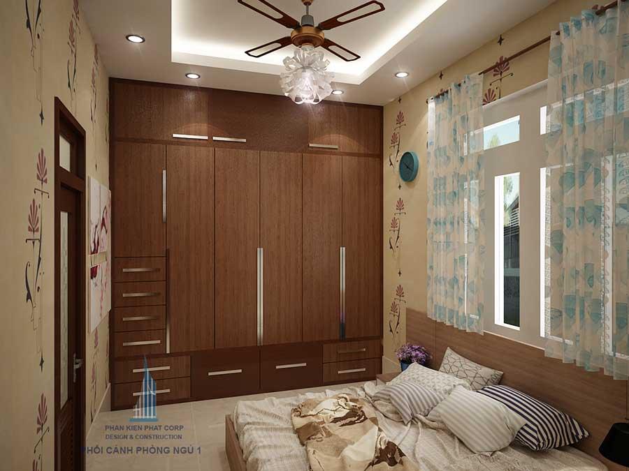 Phòng ngủ nhà 2 tầng 10x15m