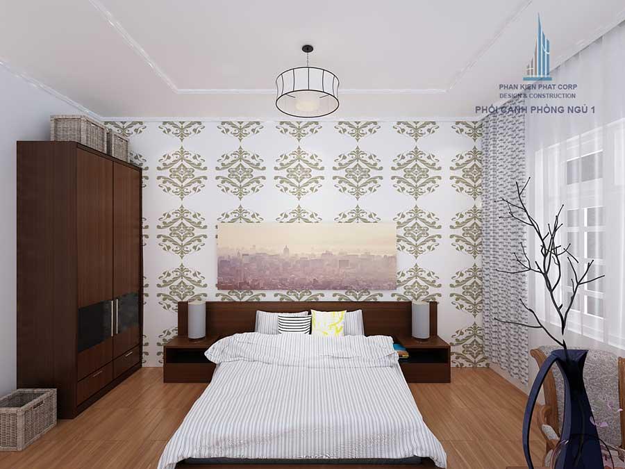 Phòng ngủ master của nhà 4 tầng sân vườn