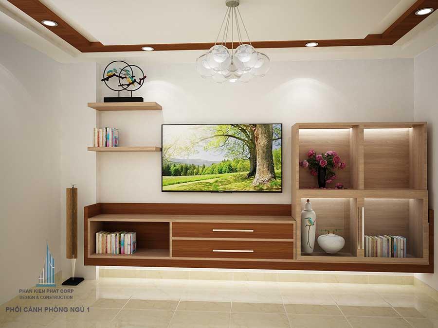 phòng ngủ 1 góc 1 của mẫu nhà 4 tầng đẹp