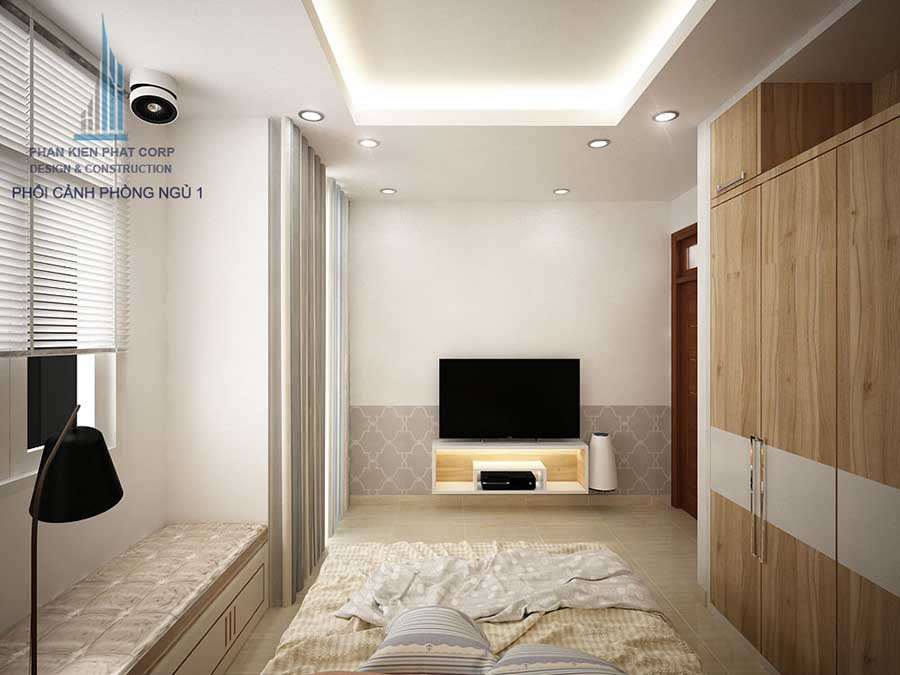 Phòng ngủ 1 góc 2 - nhà ống 3 tầng