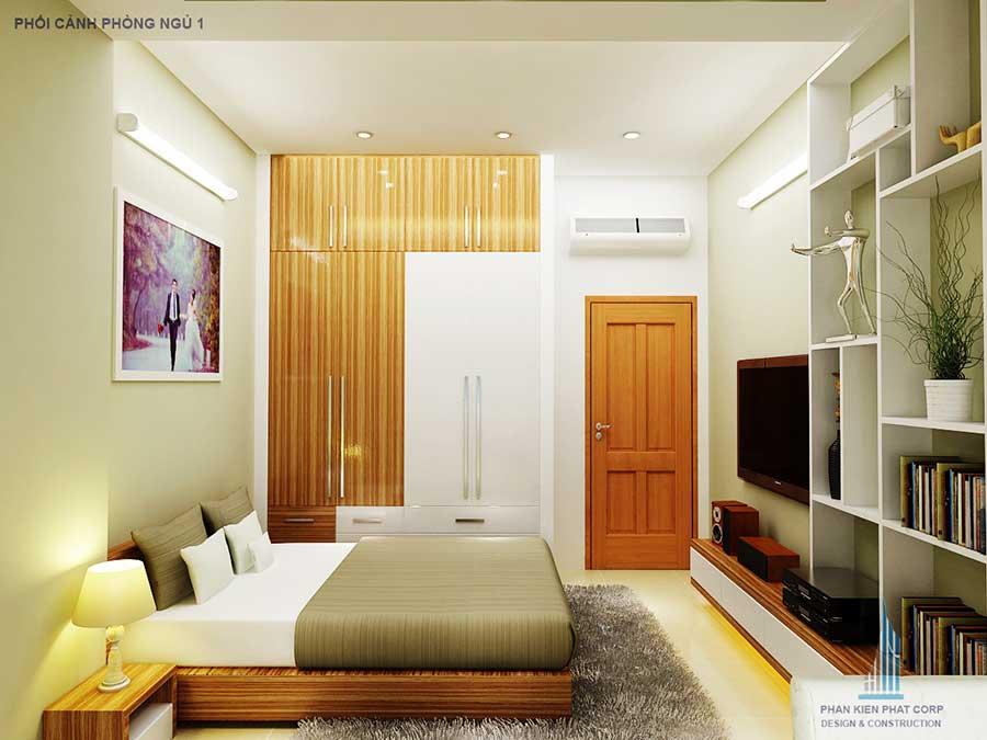 Phòng ngủ 1 góc 2 - thiết kế nhà phố
