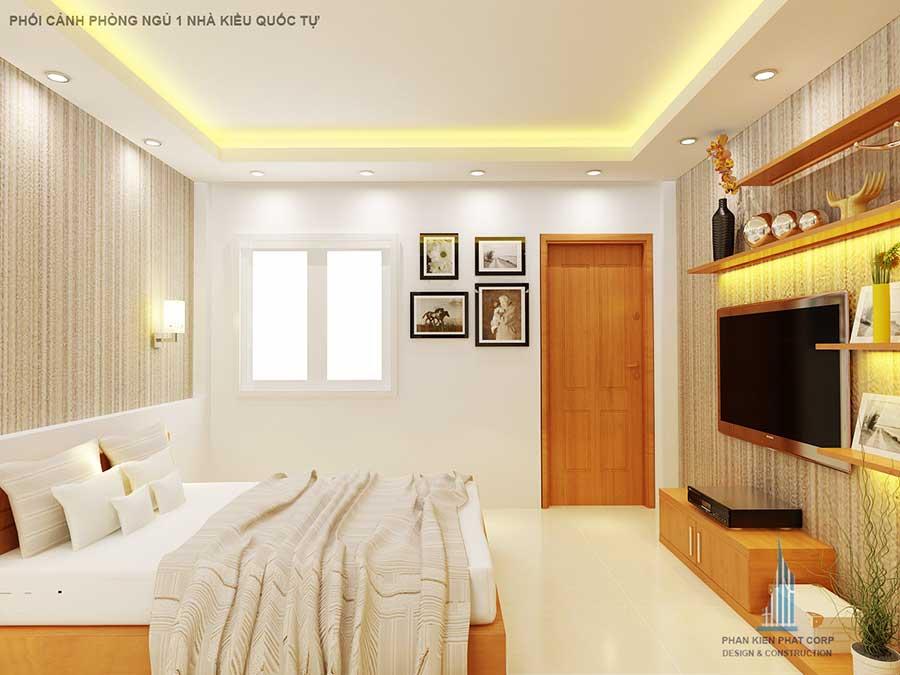 Phối cảnh phòng ngủ 1 góc 2 của nhà 2 tầng mặt phố