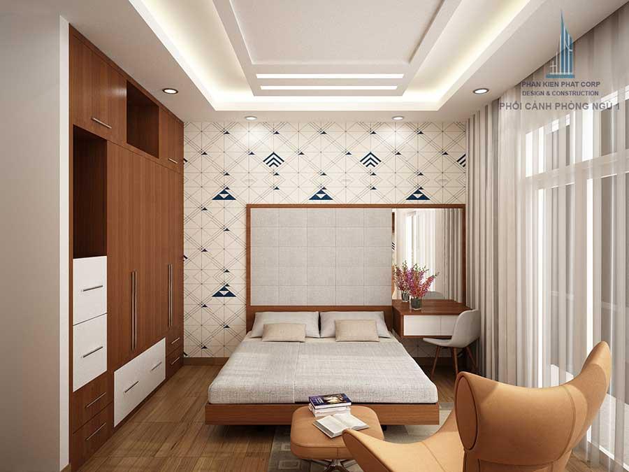 Phòng ngủ 1 góc 2 - nhà 4 tầng hiện đại