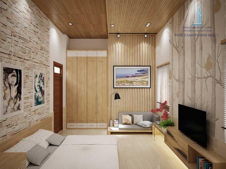 Phòng ngủ 1 - thiết kế nhà cấp 4 đẹp