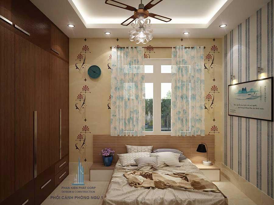 Phòng ngủ 1 của mẫu thiết kế nhà 2 tầng sân vườn