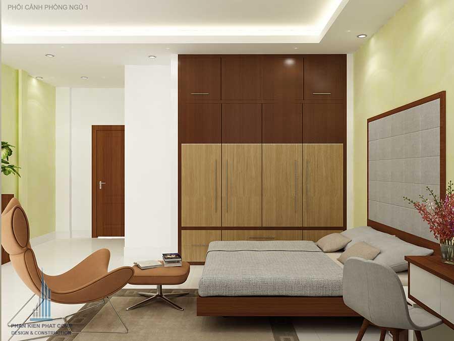 Thiết kế nhà phố 3 tầng 5x15m - Phòng ngủ 1 góc 2