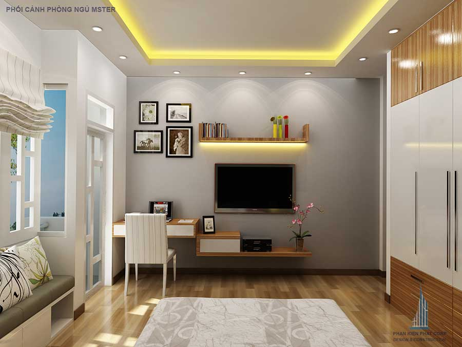 Thiết kế nhà 4 tầng - Phòng ngủ 1 góc 2