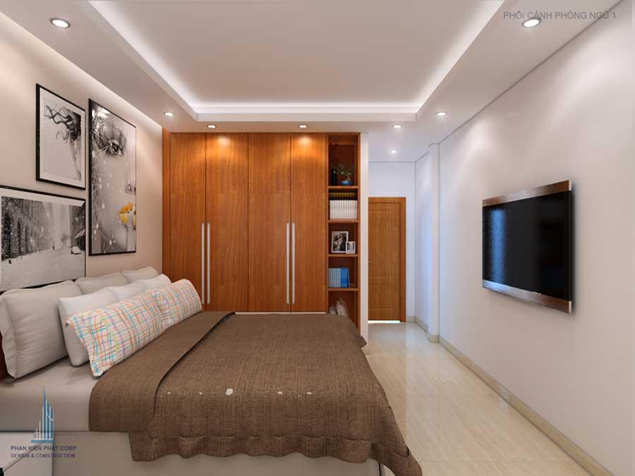 Phòng ngủ góc 2 của bản vẽ thiết kế nhà phố 4 tầng đẹp