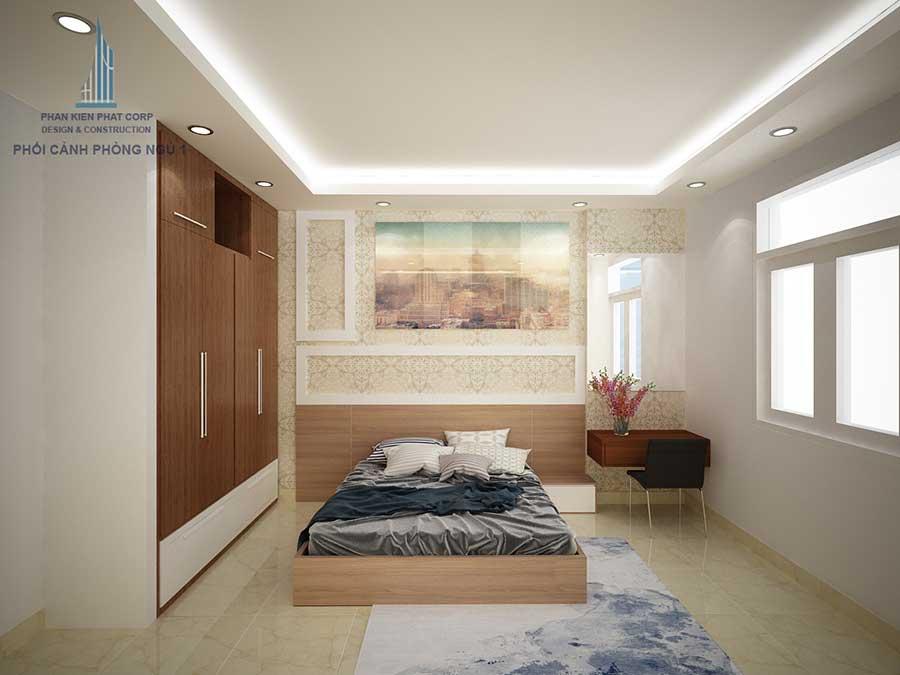Phòng ngủ 1 của nhà hiện đại 4 tầng