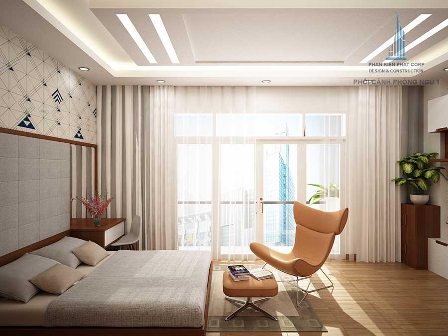 Phòng ngủ 1 góc 3 - nhà 4 tầng hiện đại