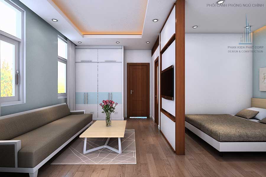 Phối cảnh phòng ngủ 1 góc 3 của nhà phố thiết kế hiện đại