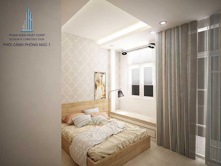 Thiết kế nhà phố 4x15m - Phòng ngủ 1 góc 3