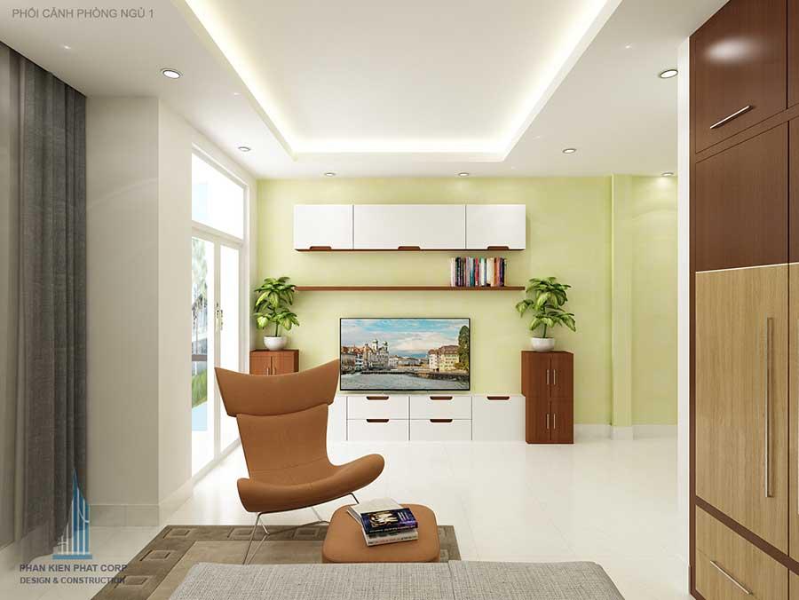 Thiết kế nhà phố 5x15m - Phòng ngủ 1 góc 3