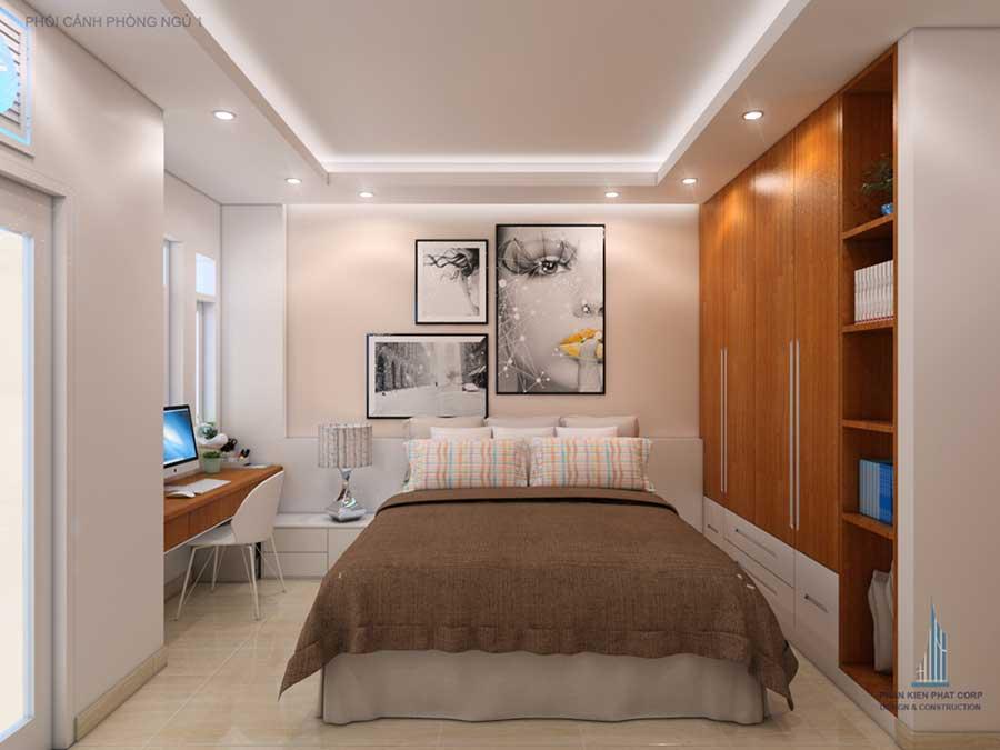 Phòng ngủ 1 góc 1 của xây dựng nhà 4 tầng
