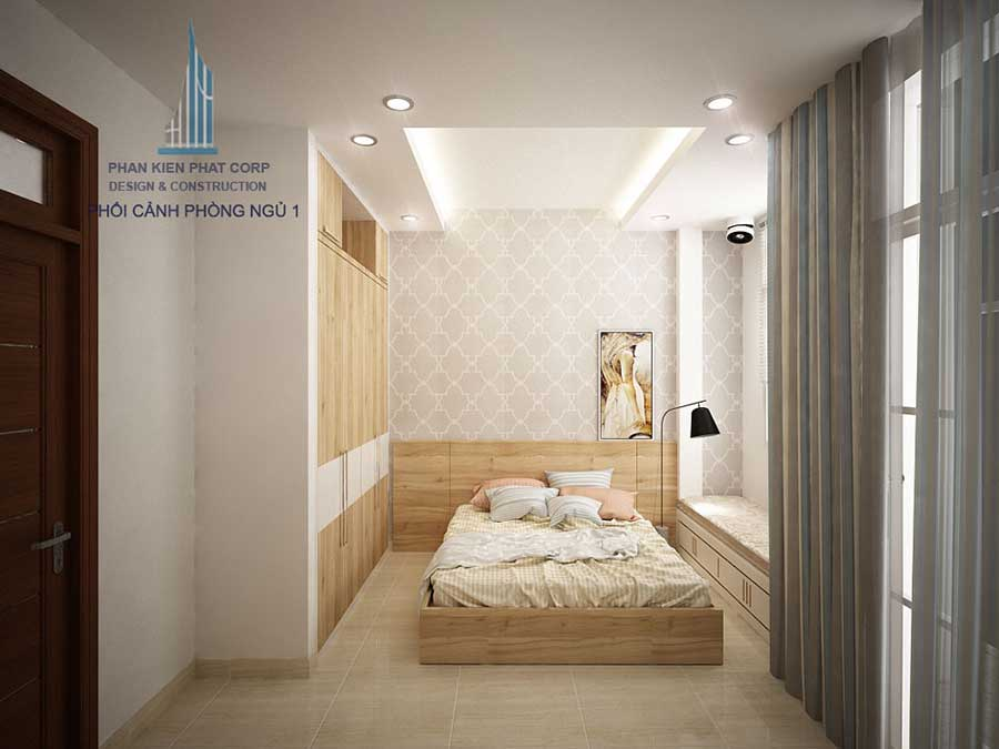 Phòng ngủ 1 góc 4 của nhà 3 tầng hiện đại