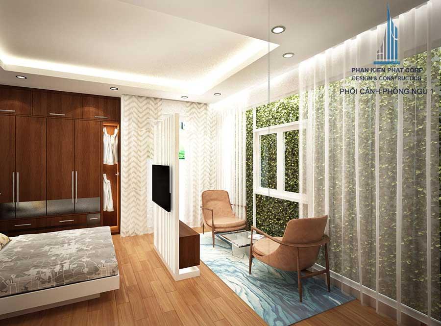 Phối cảnh phòng ngủ 1 góc 5 của nhà hiện đại