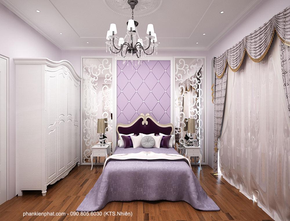 Phòng ngủ 1 view 2 nhà đẹp 8x12m bán cổ điển