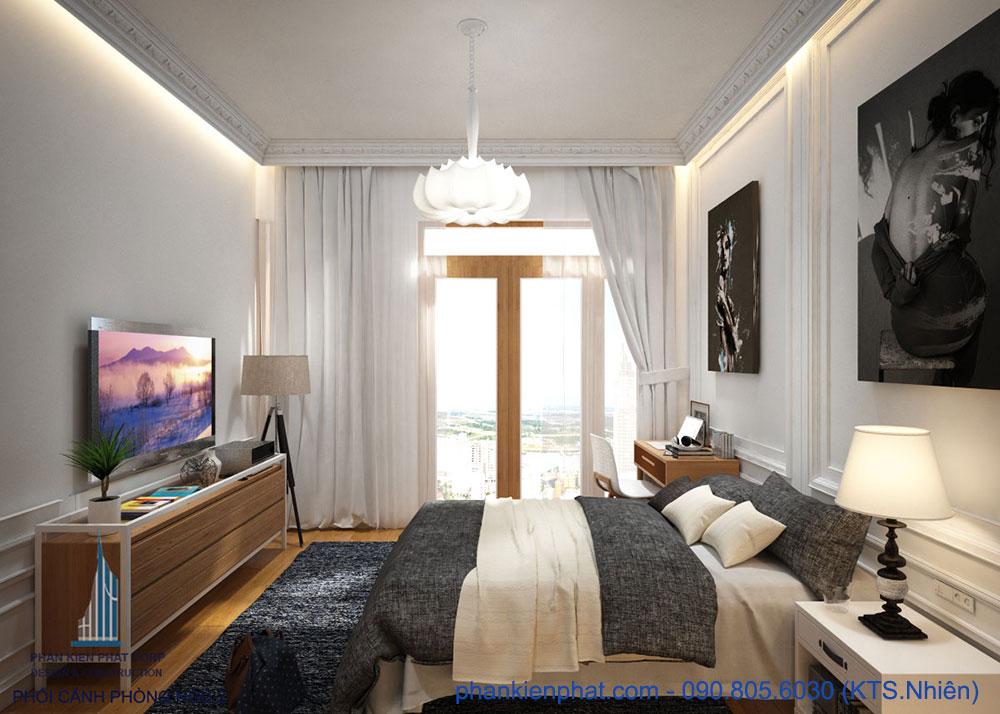 Phòng ngủ 2 của mẫu nhà đẹp 4 tầng hiện đại